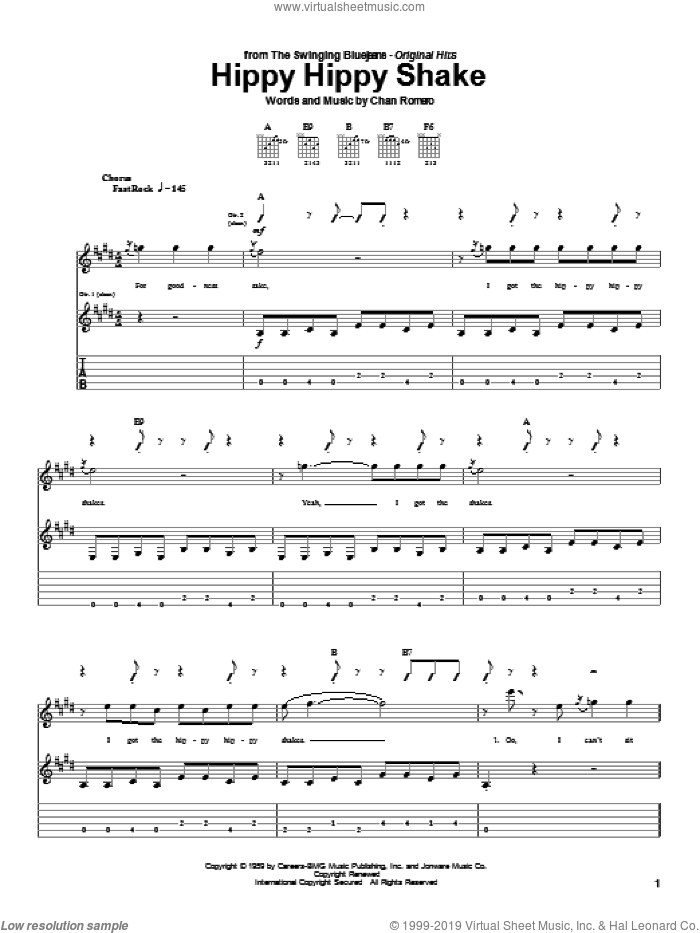 Hippy Hippy Shake sheet music for guitar (tablature) by Chan Romero, Georgia Satellites and The Beatles. Score Image Preview.