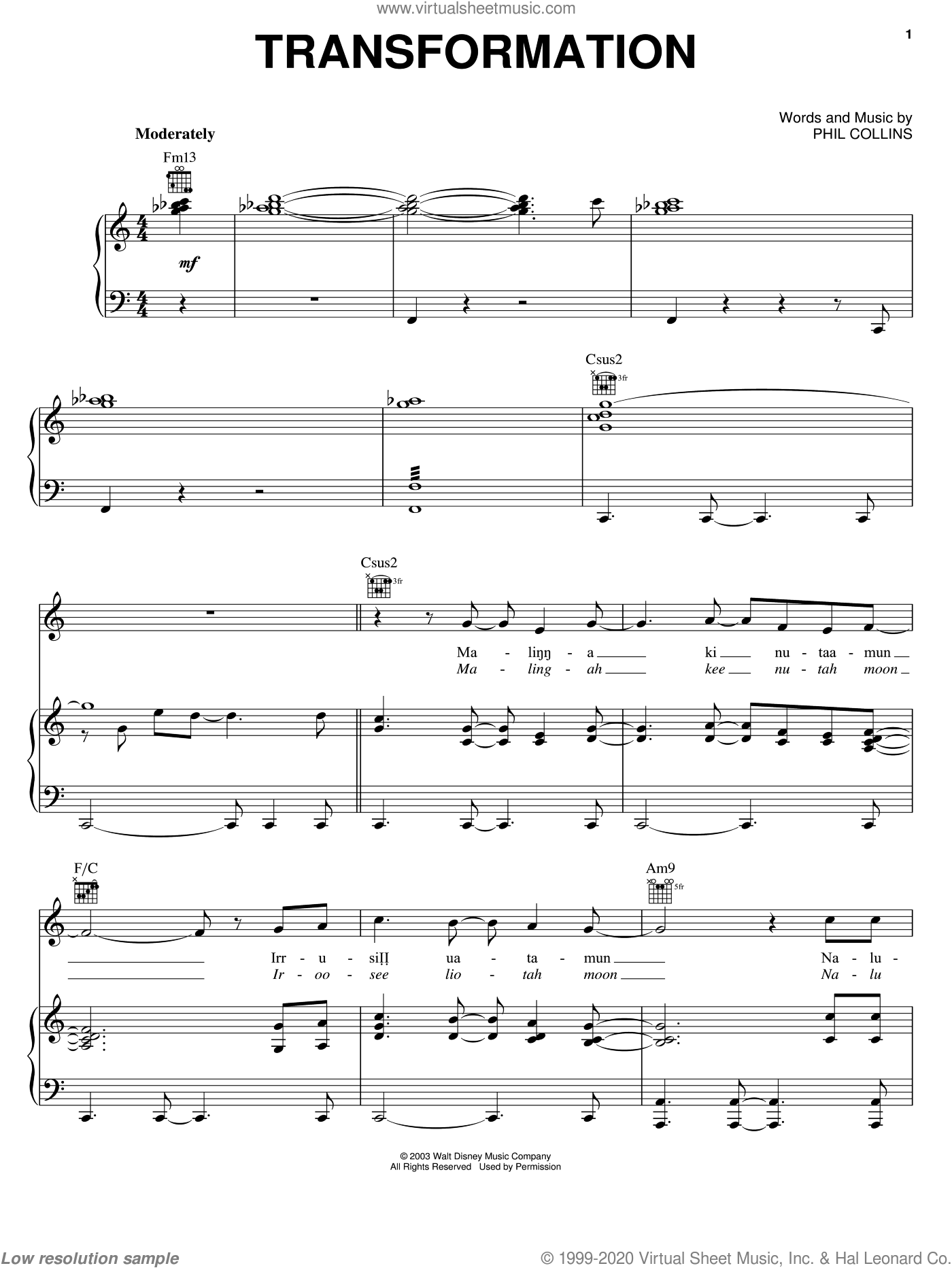 Transformation sheet music for voice, piano or guitar by Phil Collins and Brother Bear (Movie), intermediate skill level