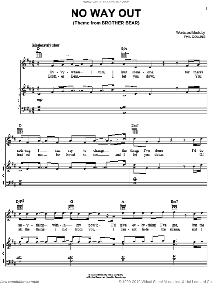 No Way Out (Theme From BROTHER BEAR) sheet music for voice, piano or guitar by Phil Collins. Score Image Preview.