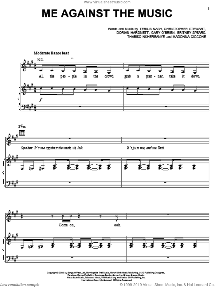 Me Against The Music sheet music for voice, piano or guitar by Britney Spears, Madonna, Christopher Stewart, Dorian Hardnett and Terius Nash, intermediate skill level