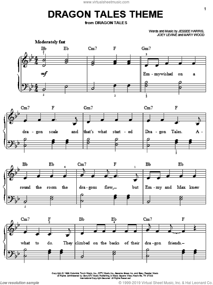 Dragon Tales Theme sheet music for piano solo by Jessee Harris, Joey Levine and Mary Wood, easy skill level