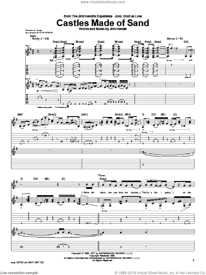 Castles Made Of Sand sheet music for guitar (tablature) by Jimi Hendrix and Red Hot Chili Peppers, intermediate guitar (tablature). Score Image Preview.