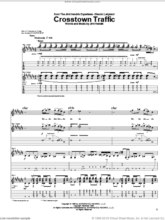Crosstown Traffic sheet music for guitar (tablature) by Jimi Hendrix, intermediate guitar (tablature). Score Image Preview.