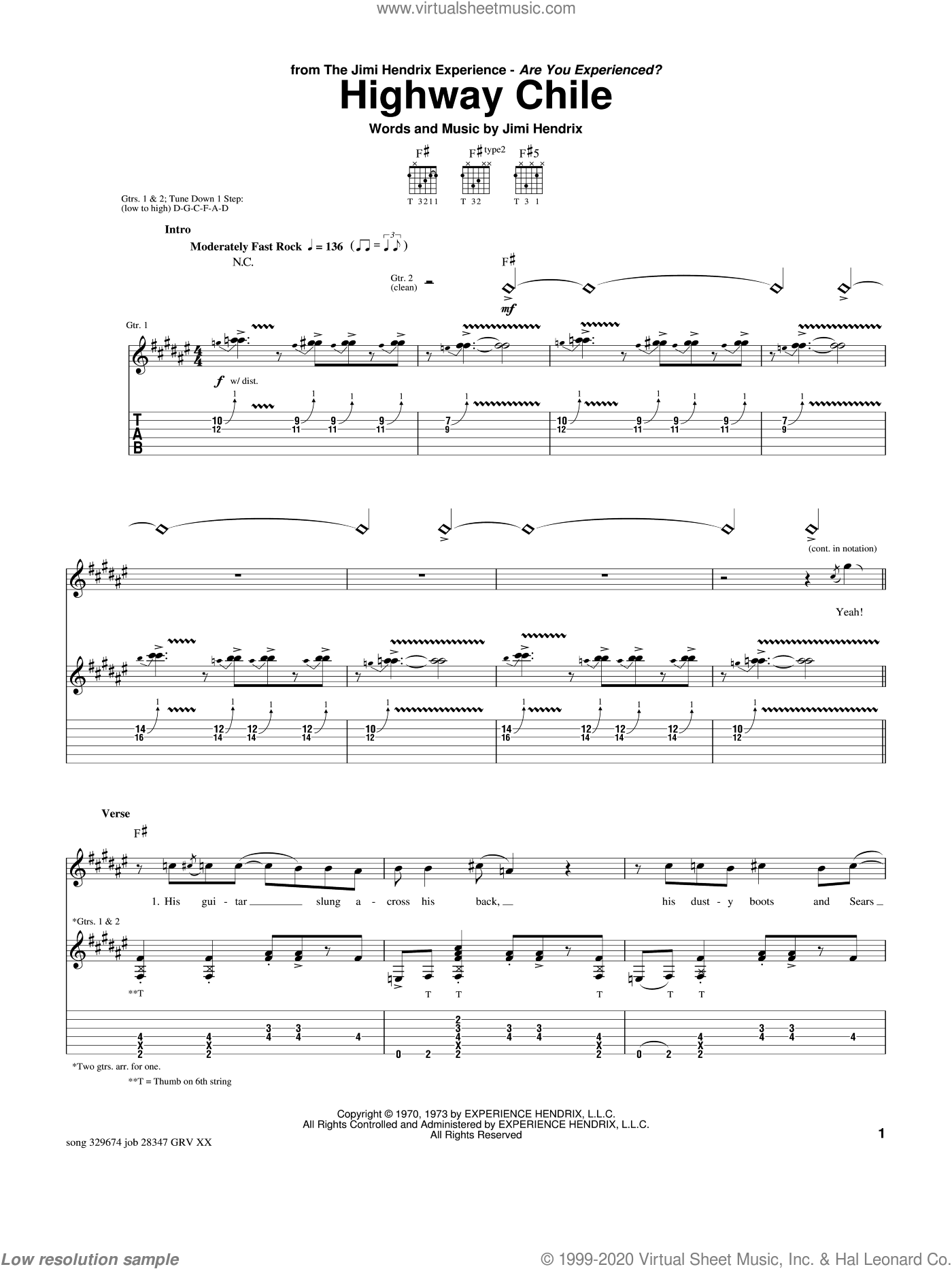 Highway Chile sheet music for guitar (tablature) by Jimi Hendrix and Paul Gilbert, intermediate skill level