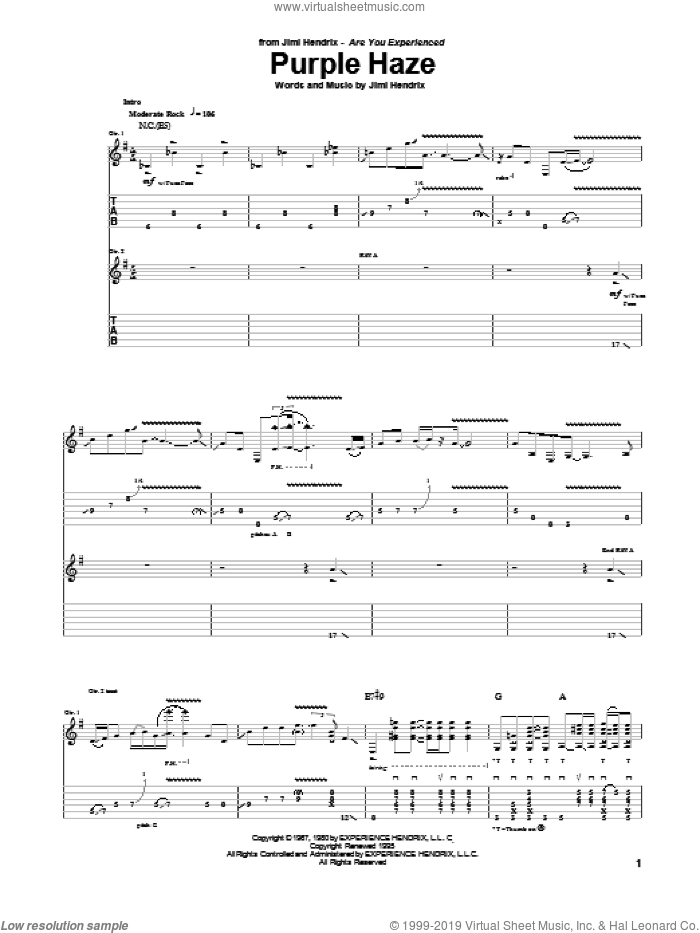 Purple Haze sheet music for guitar (tablature) by Jimi Hendrix and Paul Gilbert. Score Image Preview.