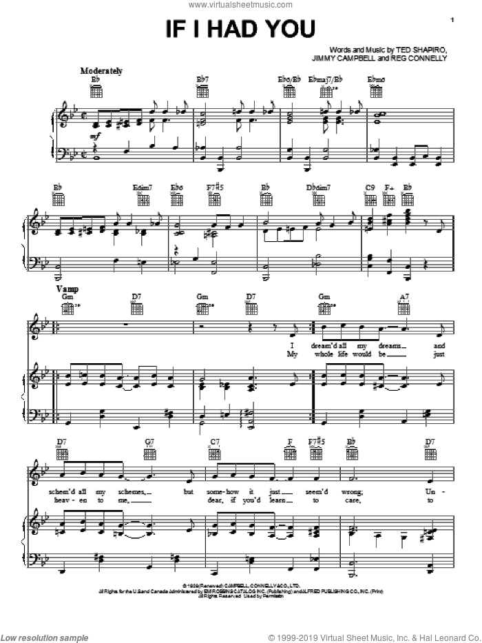 If I Had You sheet music for voice, piano or guitar by Ted Shapiro, Jimmy Campbell and Reg Connelly, intermediate skill level