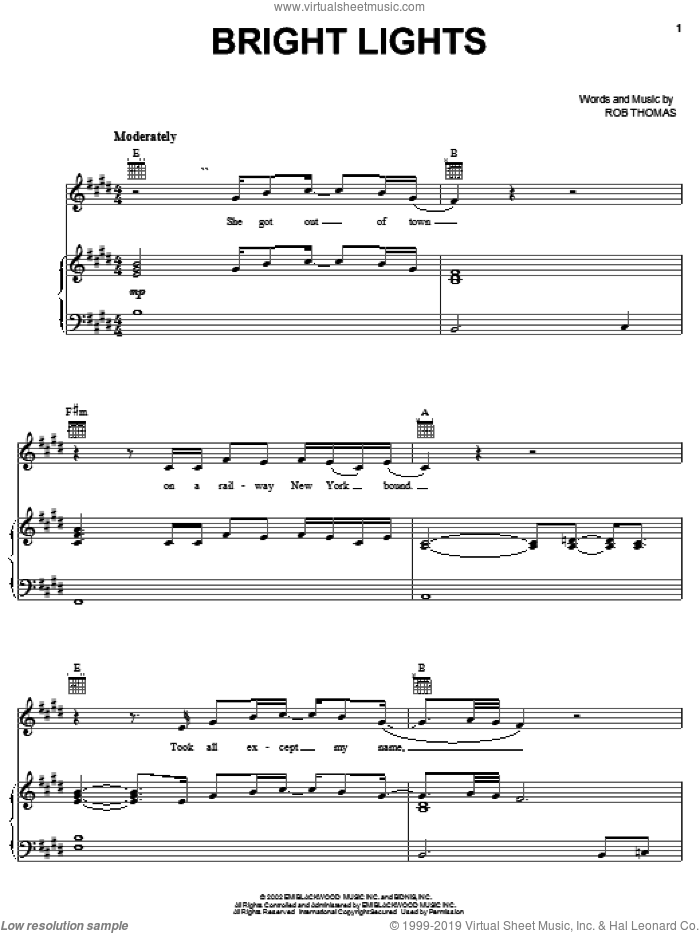 Bright Lights sheet music for voice, piano or guitar by Rob Thomas and Matchbox Twenty. Score Image Preview.