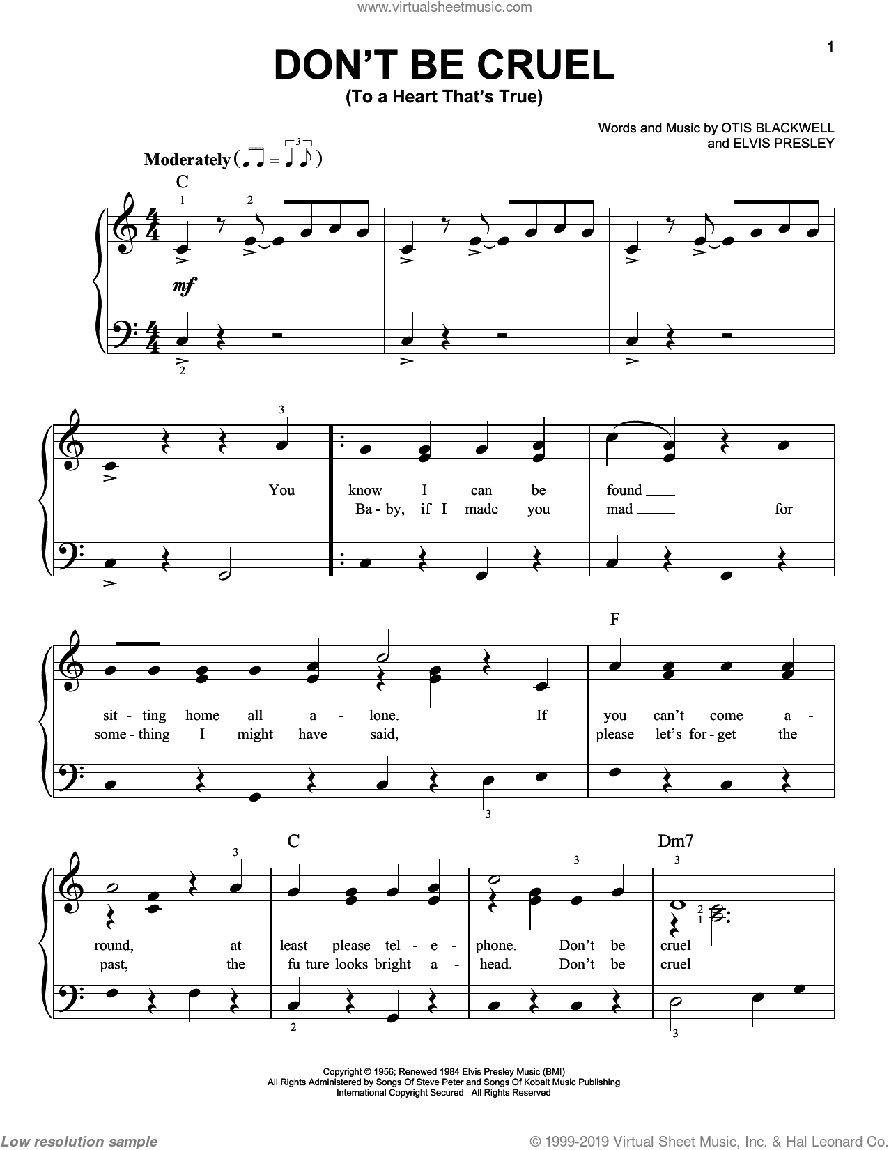 Don't Be Cruel (To A Heart That's True) sheet music for piano solo by Elvis Presley and Otis Blackwell, easy skill level
