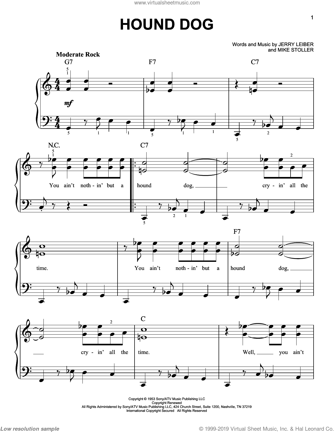 Hound Dog, (easy) sheet music for piano solo by Elvis Presley, Leiber & Stoller, Jerry Leiber and Mike Stoller, easy skill level