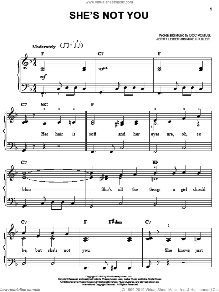 She's Not You sheet music for piano solo (chords) by Elvis Presley