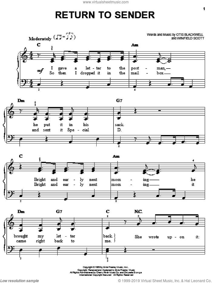 Return To Sender sheet music for piano solo by Elvis Presley, Otis Blackwell and Winfield Scott, easy skill level