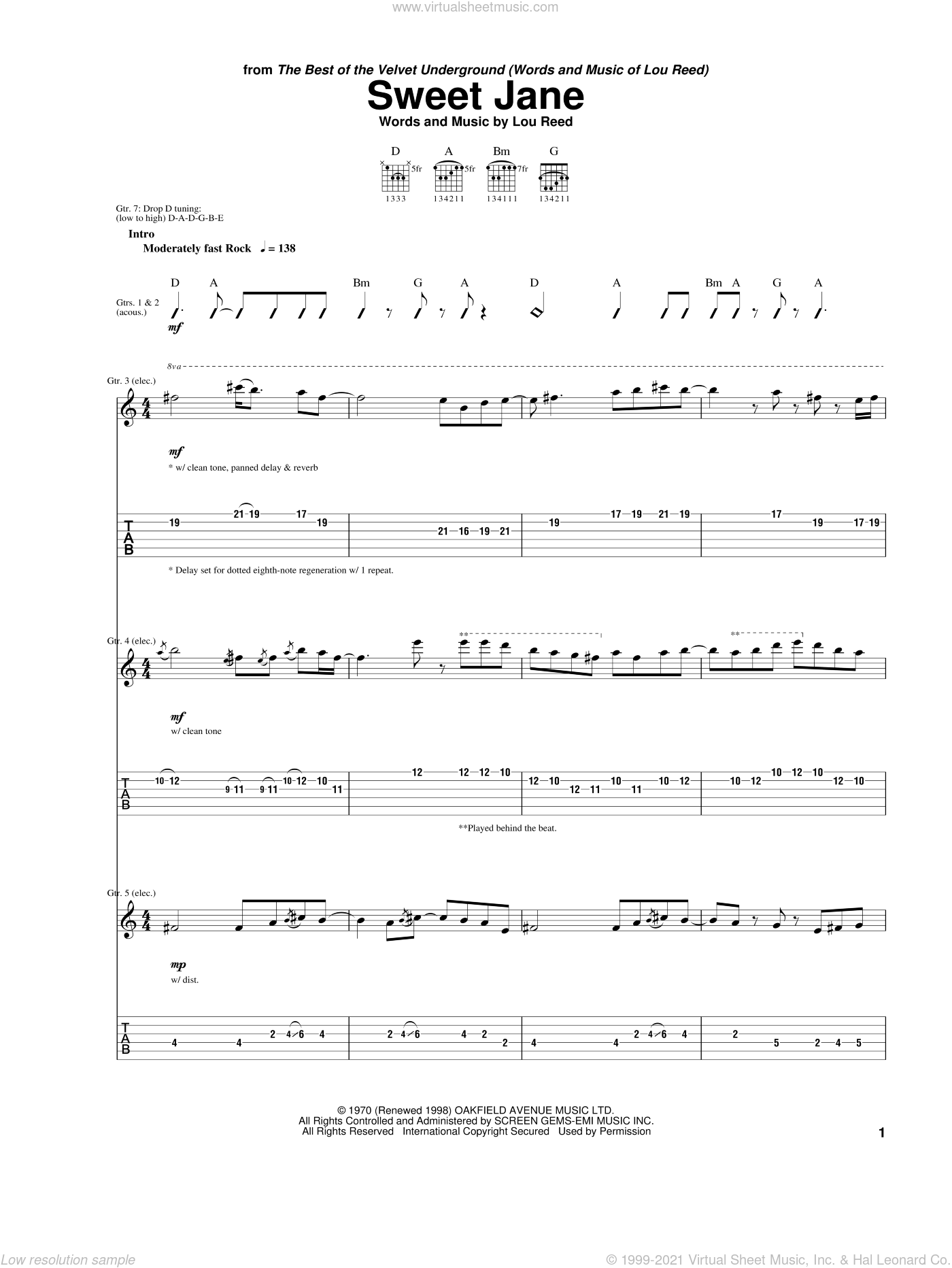 Sweet Jane sheet music for guitar (tablature) by The Velvet Underground, Cowboy Junkies and Lou Reed, intermediate skill level