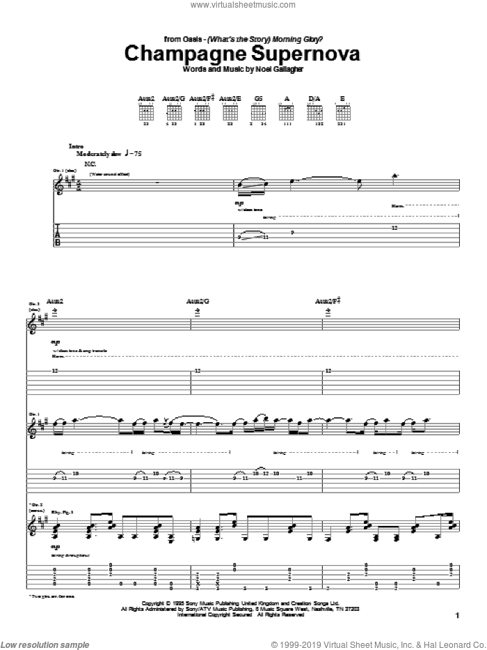 Champagne Supernova sheet music for guitar (tablature) by Oasis and Noel Gallagher, intermediate skill level