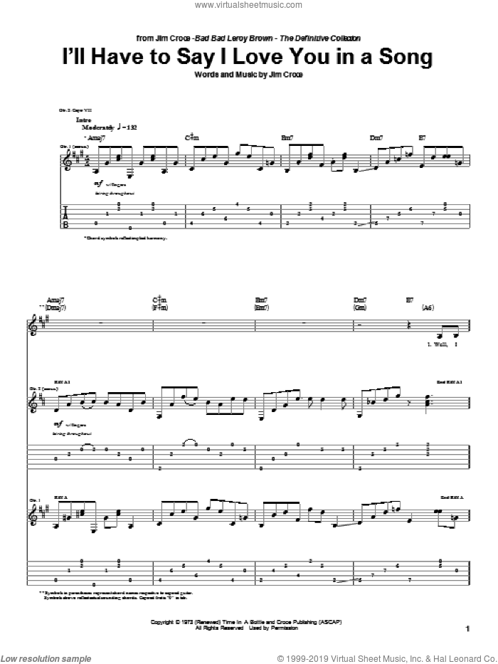 I'll Have To Say I Love You In A Song sheet music for guitar (tablature) by Jim Croce, wedding score, intermediate skill level