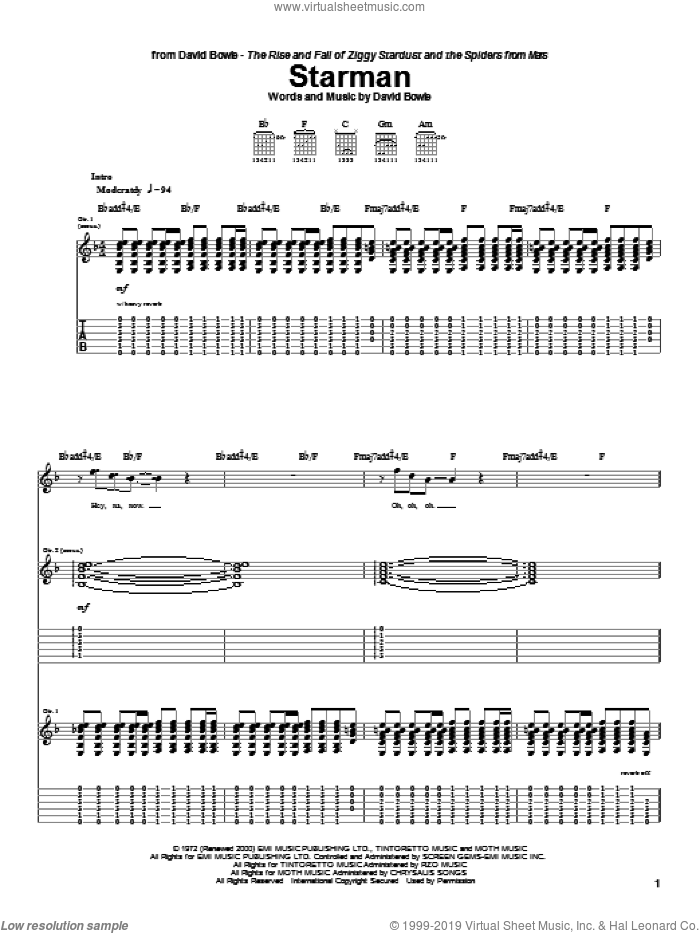 Starman sheet music for guitar (tablature) by David Bowie. Score Image Preview.