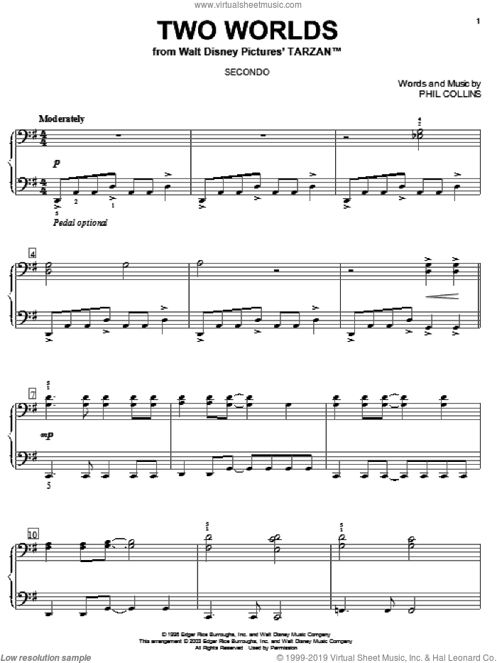 Two Worlds sheet music for piano four hands by Phil Collins, intermediate skill level
