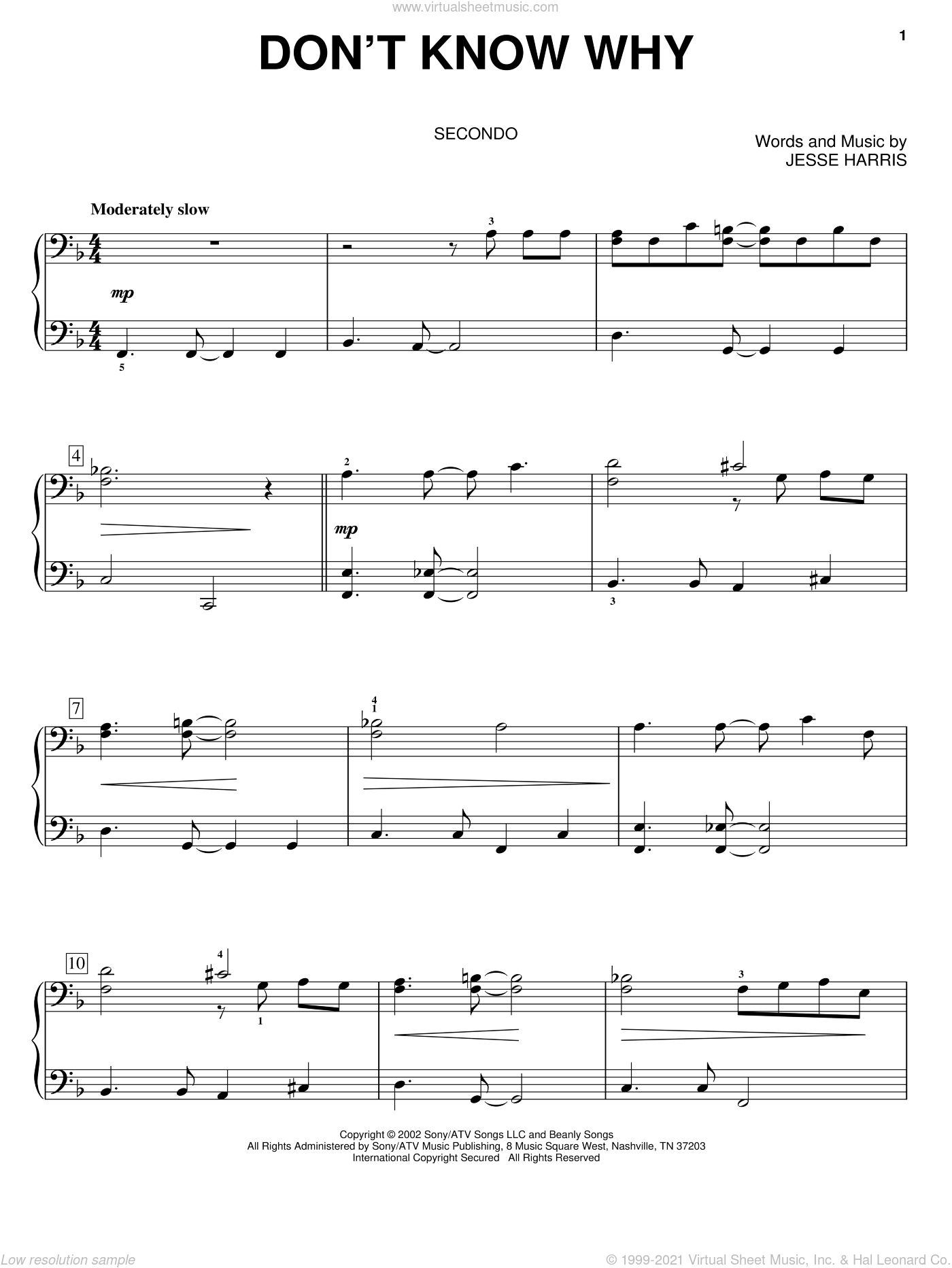 Don't Know Why sheet music for piano four hands (duets) by Jesse Harris and Norah Jones. Score Image Preview.