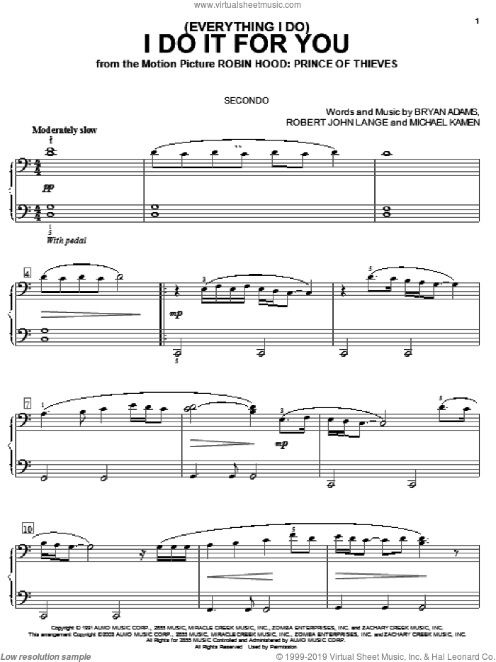 (Everything I Do) I Do It For You sheet music for piano four hands (duets) by Robert John Lange