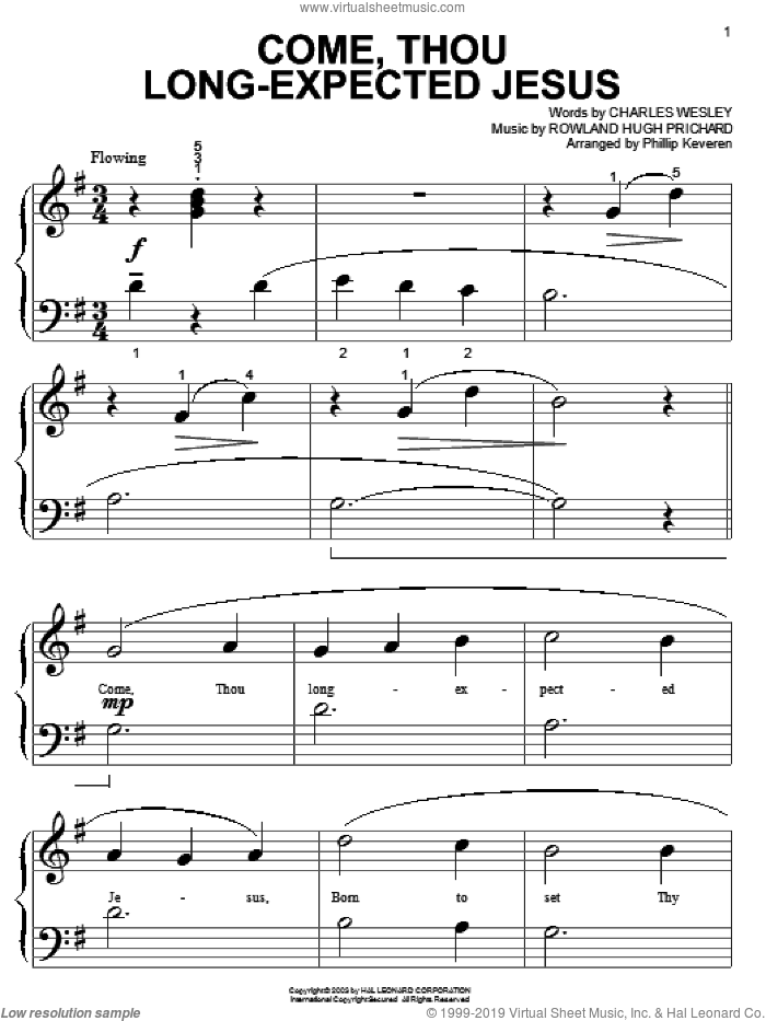 Come, Thou Long-Expected Jesus sheet music for piano solo (big note book) by Charles Wesley, Phillip Keveren and Rowland Prichard, easy piano (big note book)