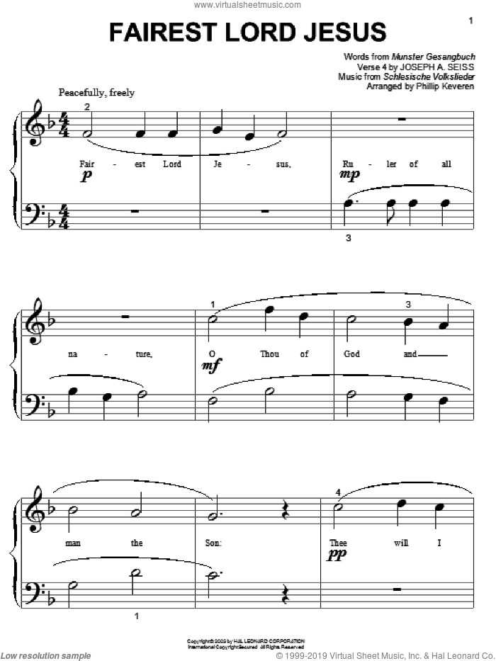 Fairest Lord Jesus sheet music for piano solo (big note book) by Munster Gesangbuch, Phillip Keveren, Joseph August Seiss and Schlesische Volkslieder, easy piano (big note book)