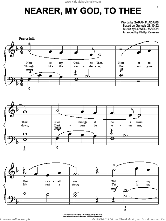 Nearer, My God, To Thee sheet music for piano solo (big note book) by Sarah F. Adams and Lowell Mason, easy piano (big note book)