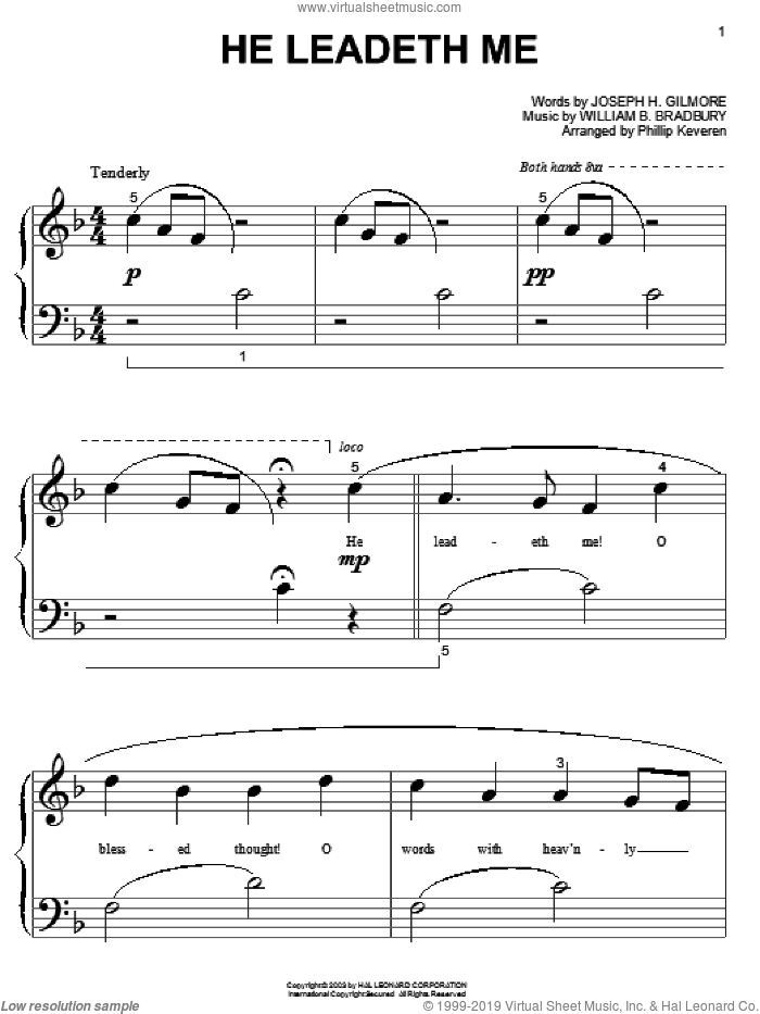 He Leadeth Me sheet music for piano solo (big note book) by William B. Bradbury and Joseph H. Gilmore, easy piano (big note book)