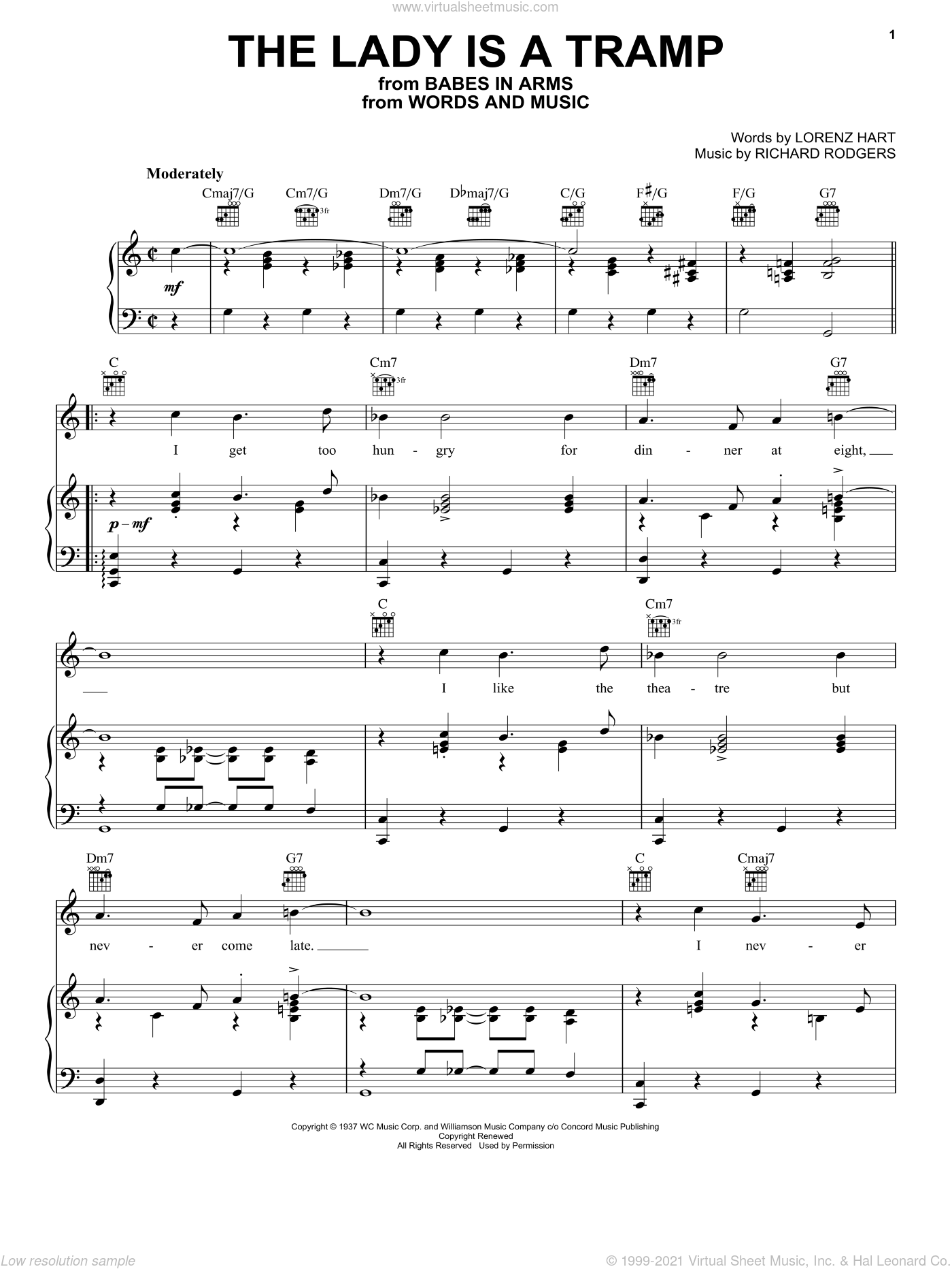 The Lady Is A Tramp sheet music for voice, piano or guitar by Frank Sinatra, Babes In Arms (Musical), Ella Fitzgerald, Lena Horne, Miscellaneous, Rodgers & Hart, Lorenz Hart and Richard Rodgers, intermediate skill level