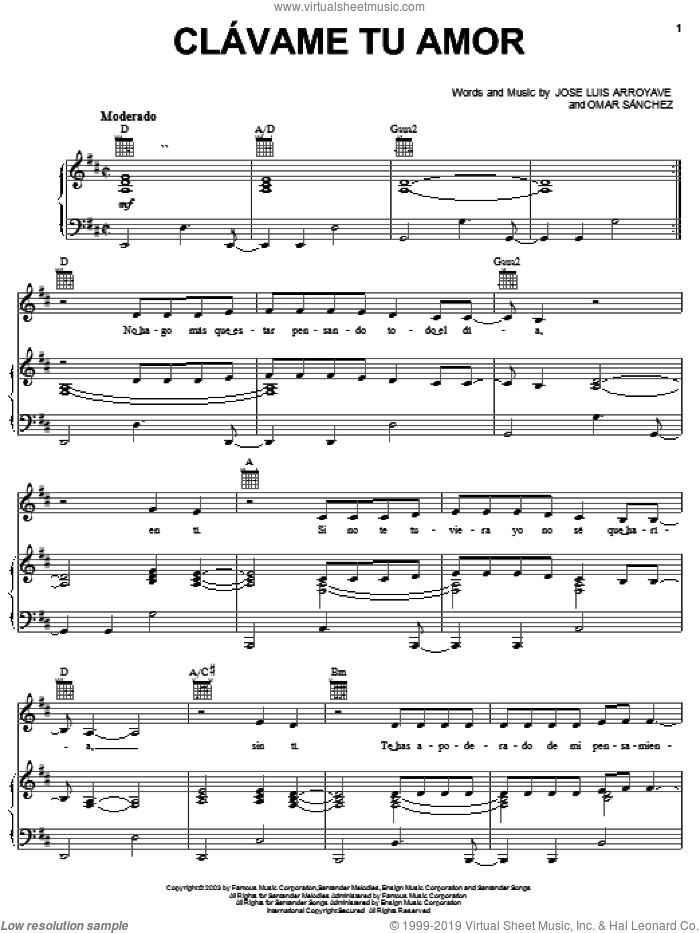Clavame Tu Amor sheet music for voice, piano or guitar by Jose Luis Arroyave and Omar Sanchez, wedding score, intermediate skill level