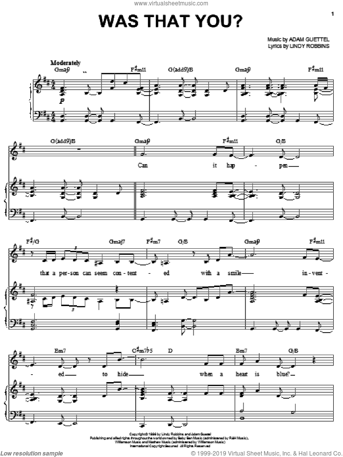 Was That You? sheet music for voice, piano or guitar by Lindy Robbins