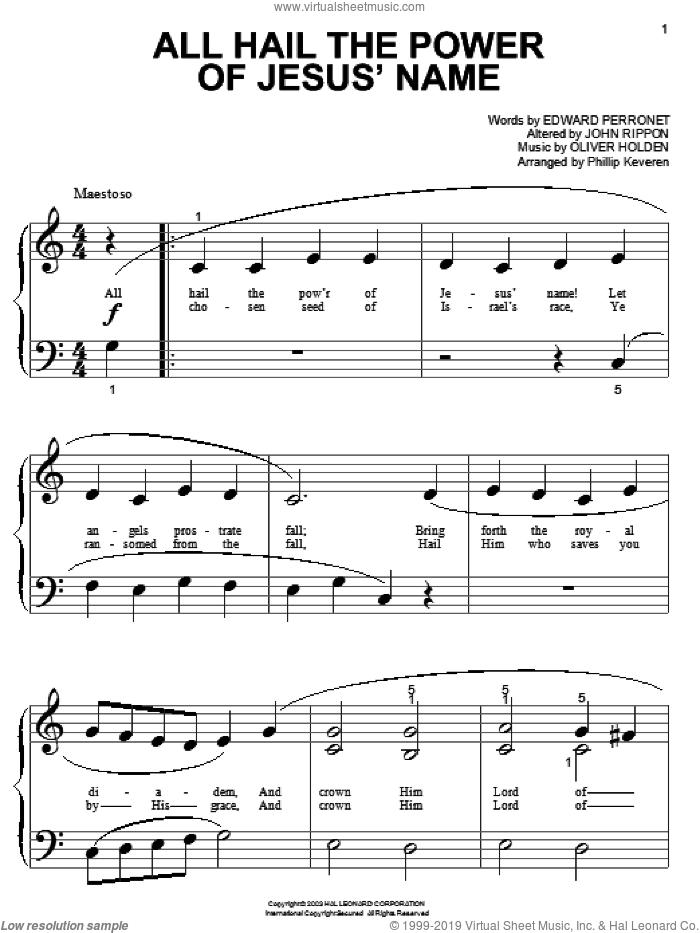 All Hail The Power Of Jesus' Name sheet music for piano solo (big note book) by Edward Perronet, John Rippon and Oliver Holden, wedding score, easy piano (big note book). Score Image Preview.