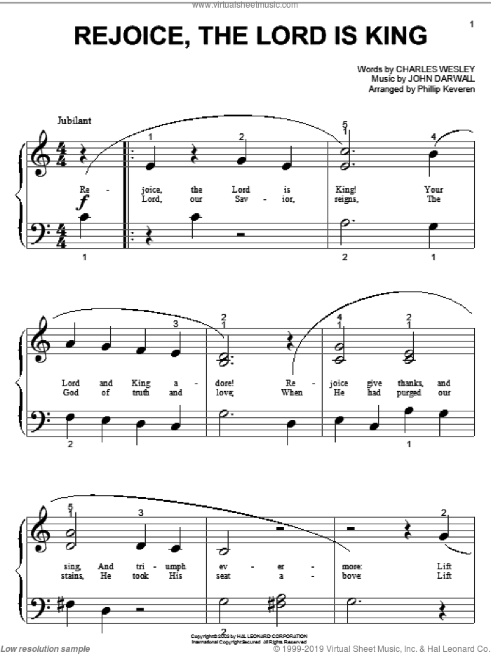Rejoice, The Lord Is King sheet music for piano solo (big note book) by Charles Wesley and John Darwall, easy piano (big note book)