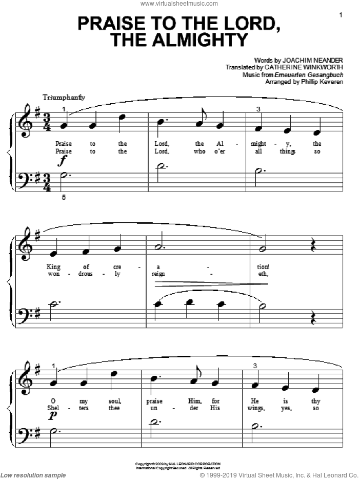 Praise To The Lord, The Almighty sheet music for piano solo (big note book) by Erneuerten Gesangbuch, Joachim Neander and Catherine Winkworth. Score Image Preview.