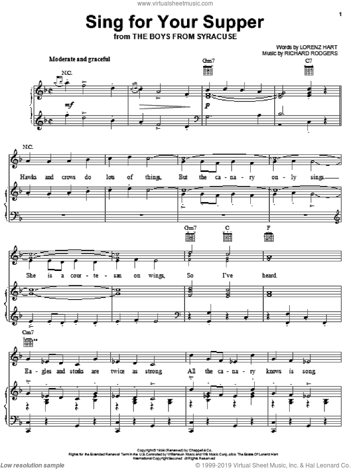 Sing For Your Supper sheet music for voice, piano or guitar by Rodgers & Hart, Lorenz Hart and Richard Rodgers, intermediate skill level