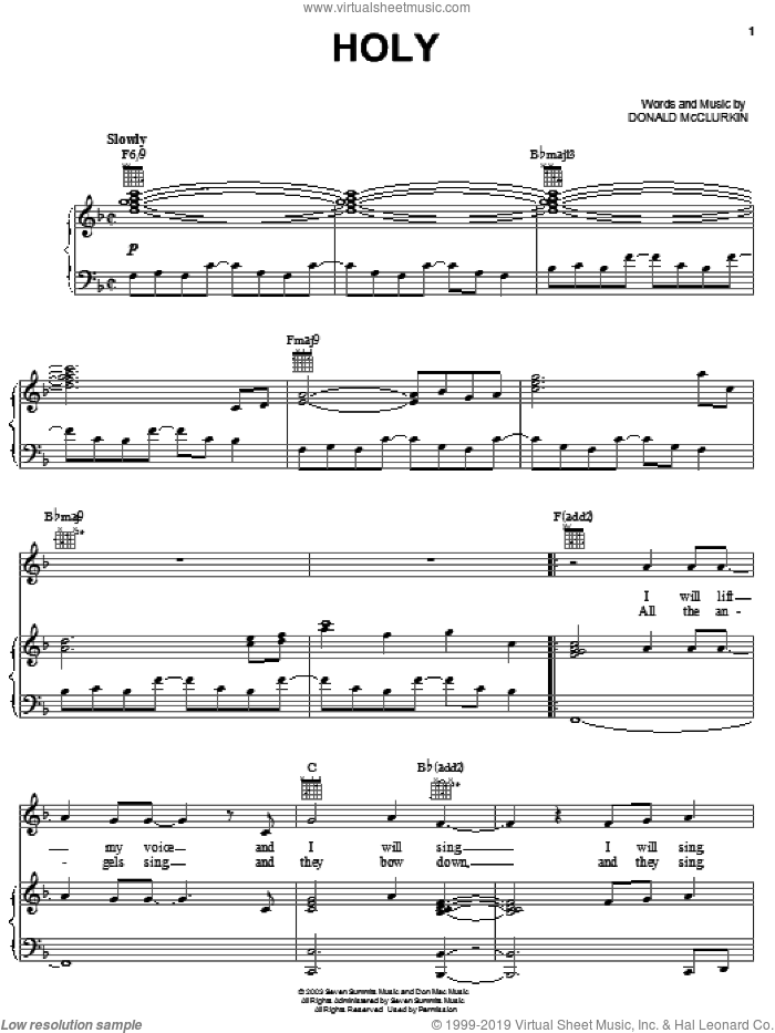 Holy sheet music for voice, piano or guitar by Donnie McClurkin, intermediate skill level