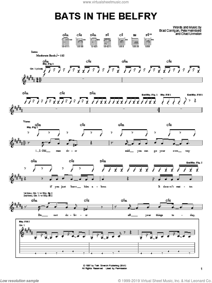 Bats In The Belfry sheet music for guitar (tablature) by Dispatch. Score Image Preview.