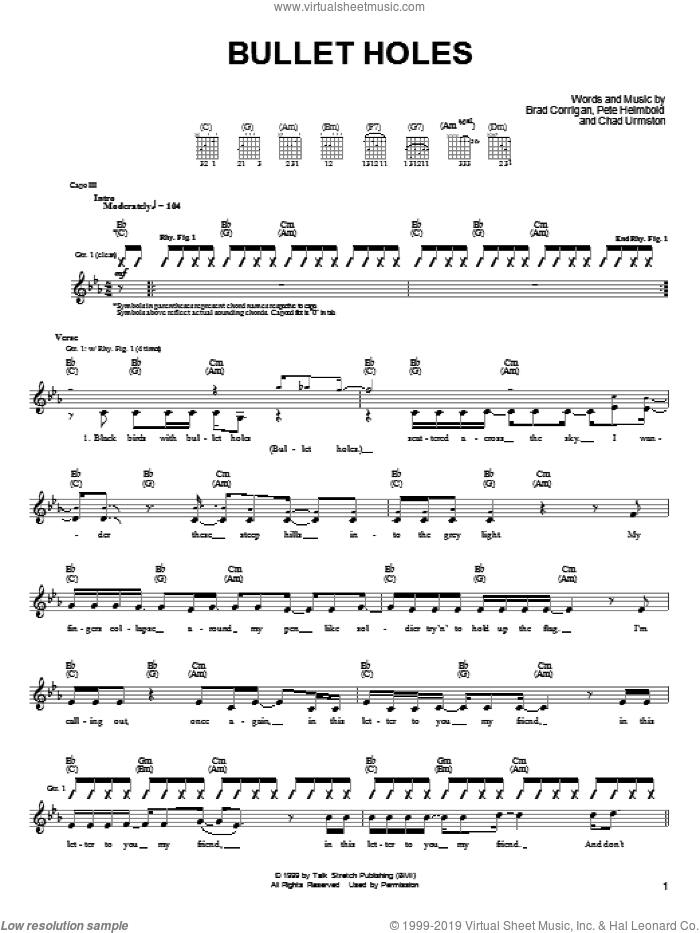 Bullet Holes sheet music for guitar (tablature) by Dispatch, intermediate. Score Image Preview.