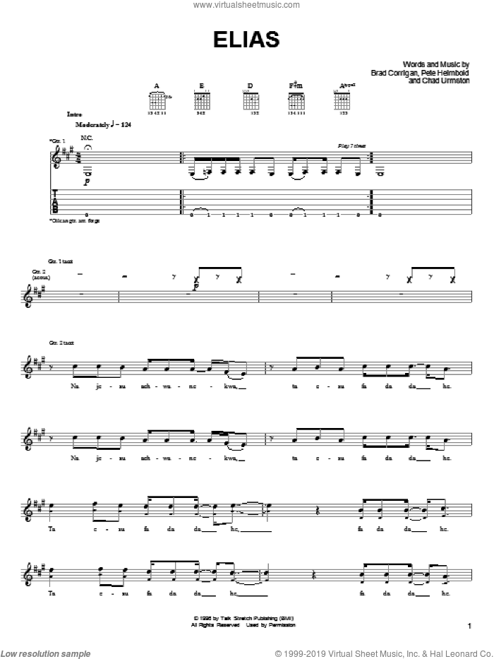 Elias sheet music for guitar (tablature) by Dispatch, Brad Corrigan, Chad Urmston and Pete Heimbold, intermediate skill level