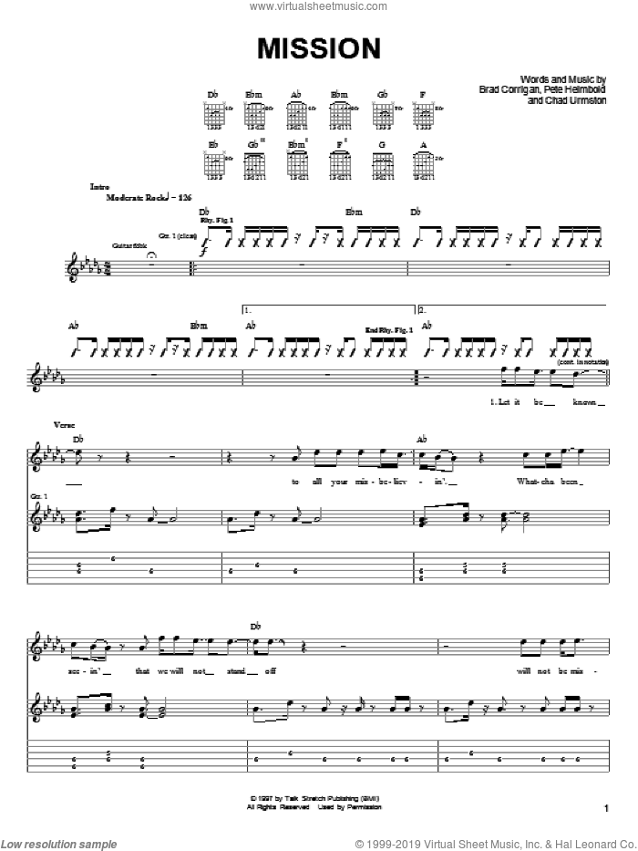 Mission sheet music for guitar (tablature) by Pete Heimbold. Score Image Preview.