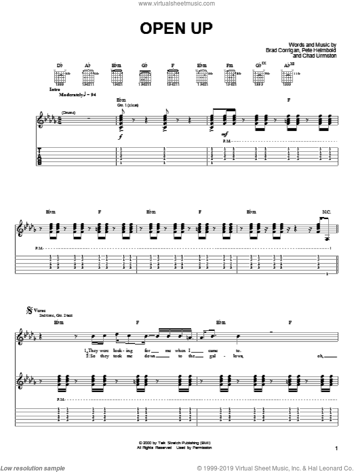 Open Up sheet music for guitar (tablature) by Pete Heimbold. Score Image Preview.