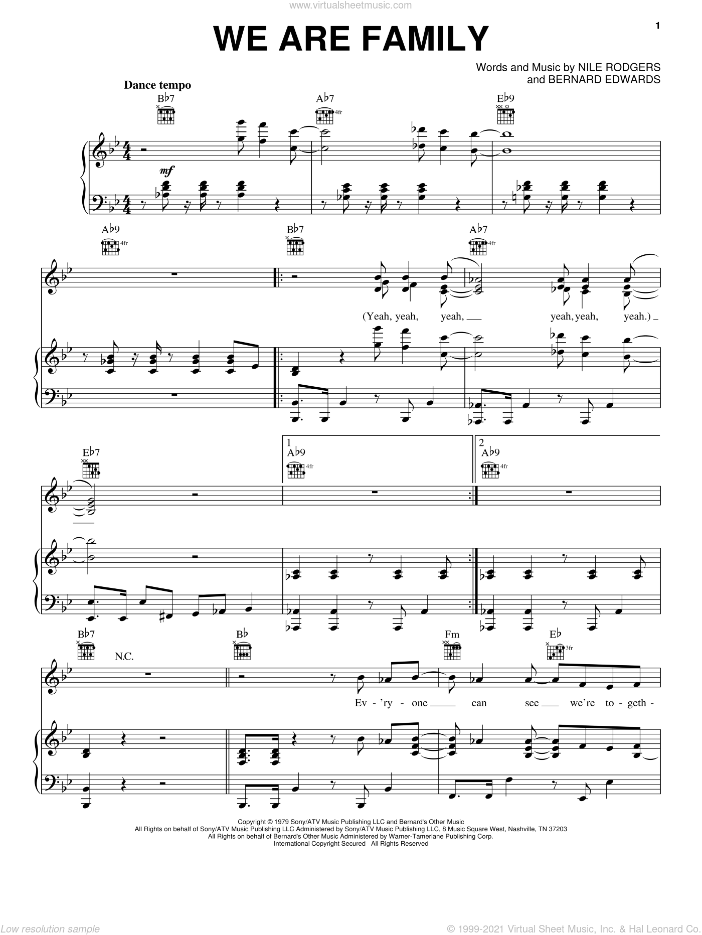 We Are Family sheet music for voice, piano or guitar by Nile Rodgers, Sister Sledge and Bernard Edwards. Score Image Preview.