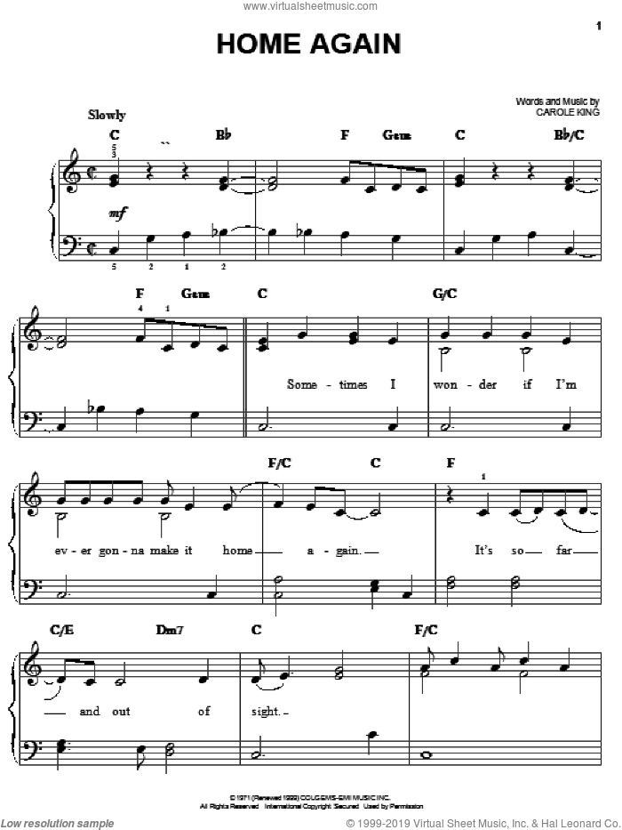 Home Again sheet music for piano solo by Carole King, easy skill level