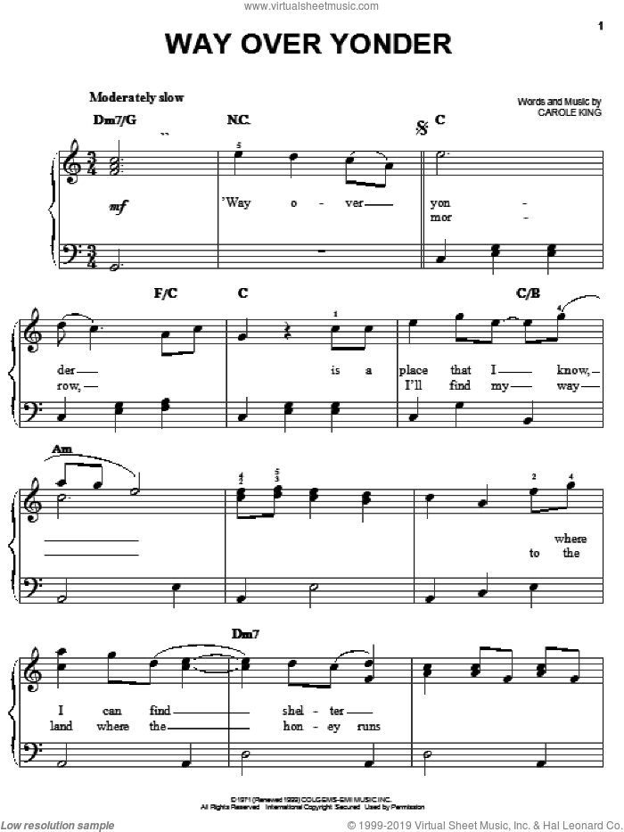 Way Over Yonder sheet music for piano solo by Carole King, easy skill level