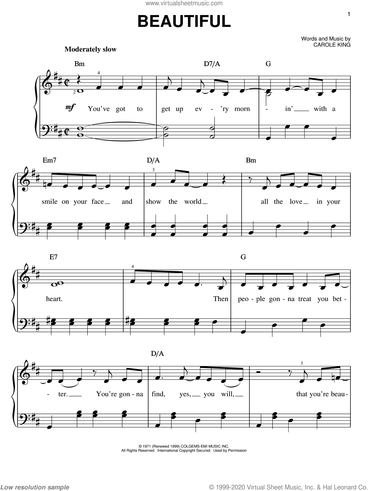 Beautiful sheet music for piano solo by Carole King, easy skill level
