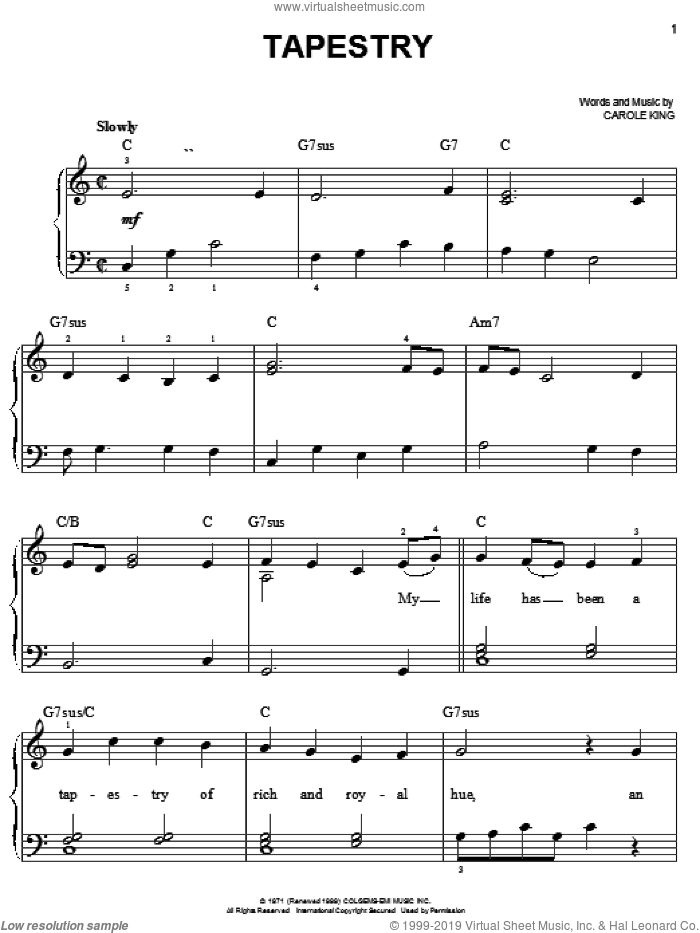 Tapestry sheet music for piano solo by Carole King, easy piano. Score Image Preview.