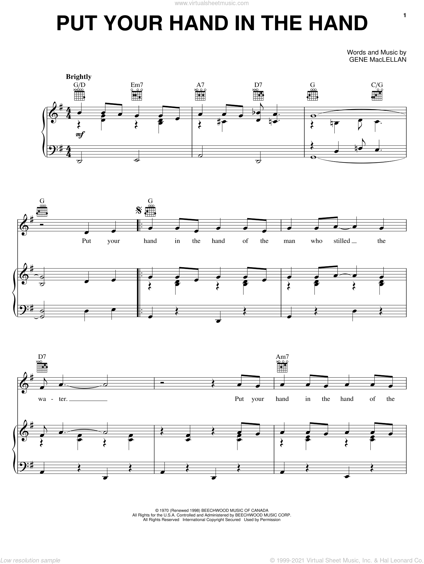 Put Your Hand In The Hand sheet music for voice, piano or guitar by Gene MacLellan, Anne Murray and MacLellan and Ocean, intermediate skill level