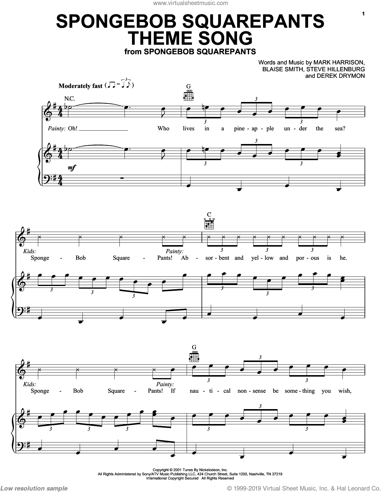 SpongeBob SquarePants Theme Song sheet music for voice, piano or guitar by Mark Harrison, Blaise Smith and Steve Hillenburg, intermediate. Score Image Preview.