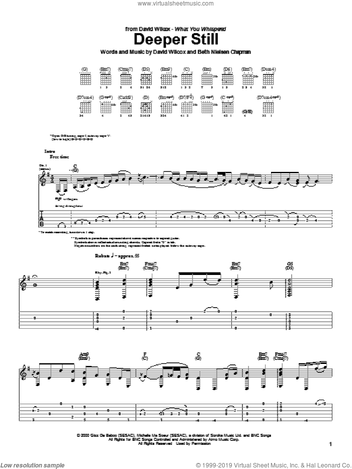 Deeper Still sheet music for guitar (tablature) by Beth Nielsen Chapman. Score Image Preview.