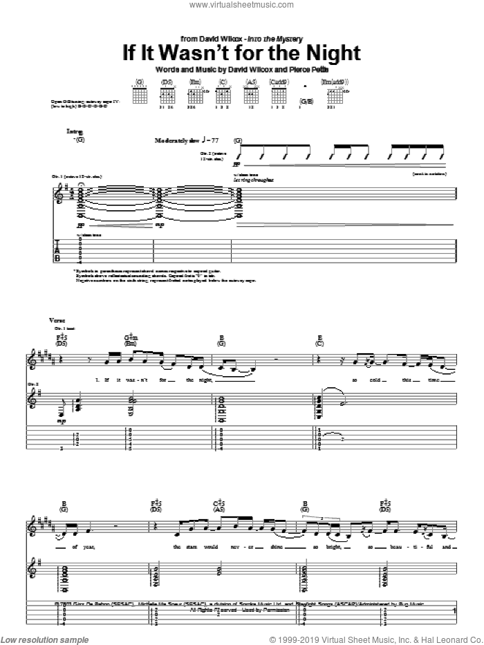 If It Wasn't For The Night sheet music for guitar (tablature) by David Wilcox and Pierce Pettis, intermediate skill level
