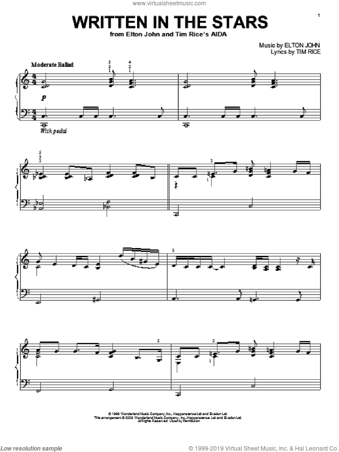 Written In The Stars sheet music for piano solo by Elton John, Aida (Musical), LeAnn Rimes and Tim Rice, intermediate skill level