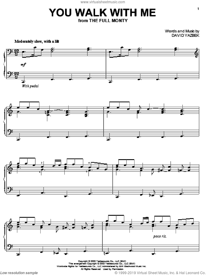 You Walk With Me sheet music for piano solo by David Yazbek and Full Monty, intermediate skill level